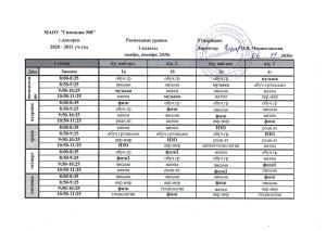 Расписание уроков 1 классы (дистанционное обучение)